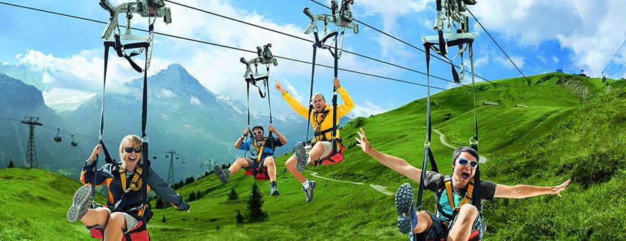 First Flieger alpes suizos con niños
