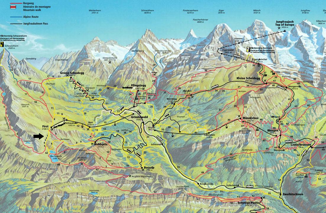 mapa jungfrau alpes suizos con niños