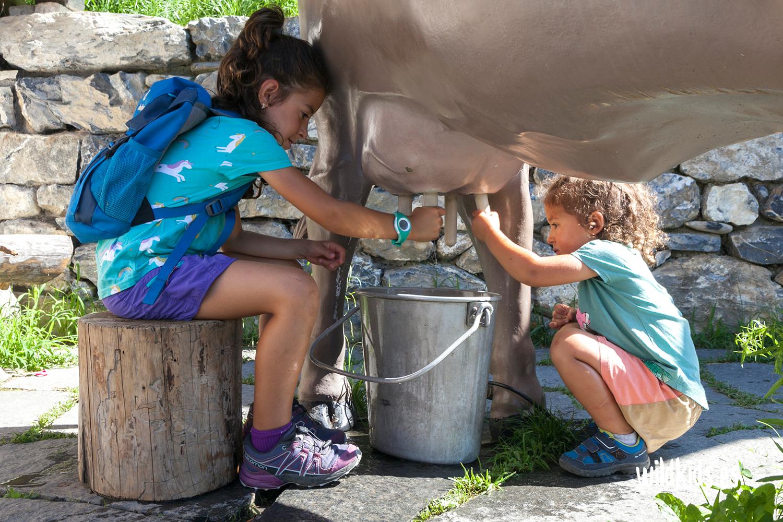 Ordeñando una vaca en Heididorf