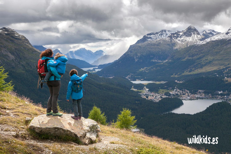 Vistas sobre St. Moritz desde el Muottas Muragl Panoramaweg